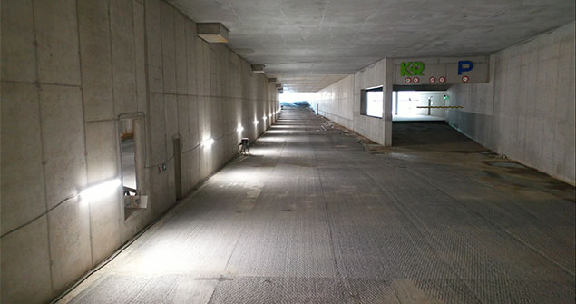 Huidige werken aan de tangenttunnel, ter hoogte van de ingang van de parking